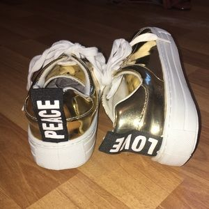 Gold Peace + Love Qupid Sneakers